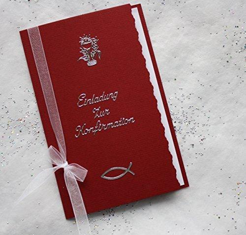 5 Einladungskarten zur Konfirmation incl. Umschlag Farbe bordeaux Handarbeit