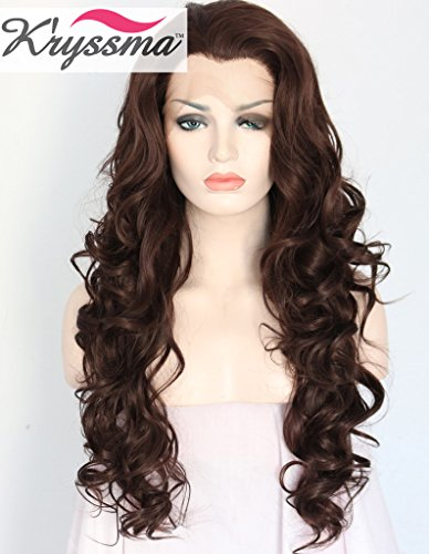 K'ryssma Natural Looking Chocolate Colour Full Head Wig Free Part Long Wavy Brown Lace Front Wigs Realistic Soft Synthetic Hair for Black Women Heat Resistant Fiber Half Hand Tied 24 inches