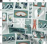Ski, Schnee, Berg, Retro, Vintage, Skifahren, Winter Stoffe