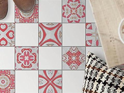 Vinyle carrelage autocollant sol cuisine | Tatouage mosaïque - Moderniser toilette | Motif Strawberry Cheese | 10x10 cm - 9 pièces (3x3)