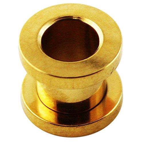 Fit Gauge (28MM Gold eloxiertem 316L chirurgische Stahlschraube Fit Gauge Fleisch Tunnel Ohrenpiercing)