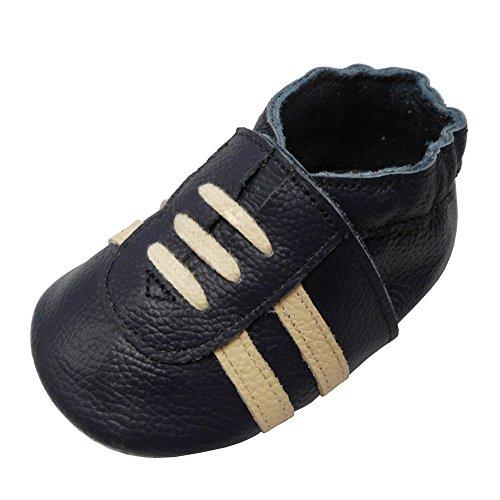 YIHAKIDS Weicher Leder Lauflernschuhe Krabbelschuhe Babyhausschuhe Turnschuh Sneakers mit Wildledersohlen(Marineblau,6-12 Monate)