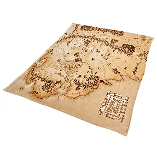 Herr der Ringe Flausch Decke Mittelerde Karte 200x220cm Elbenwald beige