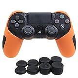 YoRHa Hälfte Dick Silikon Hülle Abdeckungs Haut Kasten für Sony PS4/slim/Pro Controller x 1 (Orange) Mit Pro aufsätze thumb grips x 8