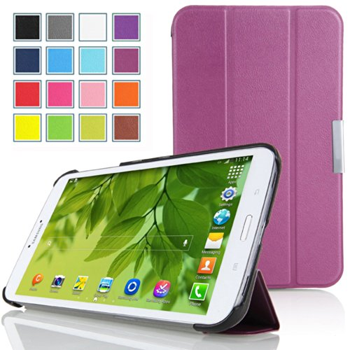 Mulbess - für Samsung Galaxy Tab 3 7.0 Lite 7 Zoll T110 T111 Slim Leder Tasche Hülle Etui Schutzhülle Magnetic Magnet Schutzhülle Case Tasche Etui Sleeve Cover mit Standfunktion + Auto Sleep Wake Up Farbe Violett