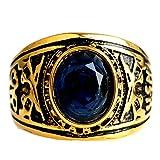 Bishilin Edelstahl Herren Ring mit Gravur Muster Opal Zirkonia Blau Männer Ring Gold Partnerringe Größe 54 (17.2)