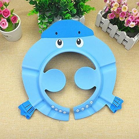 Stillshine - Baby Kids Bath Shampoo Protect Hat Cartoon Children Adjustable Soft Bathing Shower Cap protection Their Eyes & Face (Blue(C))
