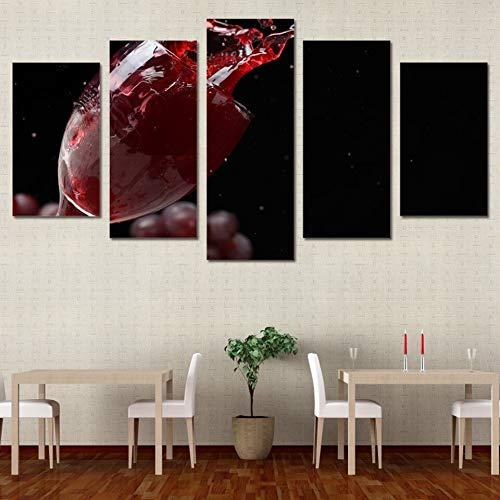 mmwin Carteles de Lona de Trabajo Sala de Estar HD Impreso Imágenes 5 Paneles UVA Copa de Vino Sangre Arte de Pared Modular Decoración para el hogar s