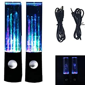 BRAND NEW HIGH QUALITY BLACK COLOR USB DANCING WATER LED LIGHT FOUNTAIN SPEAKER FOR IPHONE 4 4G 4S 4GS IPAD 1 2 3