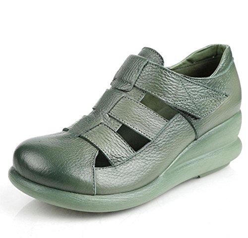 Retro sandali da donna pendenza con crosta spessa pelle cave Xia Jiping scarpe fondo coreani femminili dei sandali romani Green