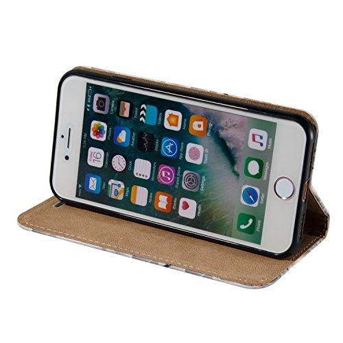Aeeque® iPhone 7 4.7 pouces Blanc Etui, Luxe Fille et Fleur Motif Dessin Housse Case en Cuir pour les iPhone 7 (2016) avec Support/ Pochette/ Magnétique Fonction Motif Fille et Fleur