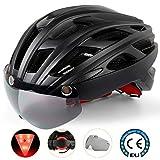 Shinmax Casco Bicicleta con luz, con Visera Magnética Desmontable Gafas de Protección...