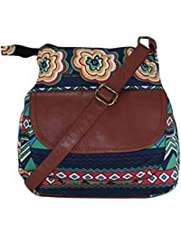 Suprino Beautiful Printed Cotton Canvas Sling Bag For Girls And Women's(multi)