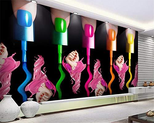 Hojuan Decoracion 3D Papel pintado Wallpaper Tela De Seda Personalizados De Alta 3D Wallpaper Uñas Esmalte De Uñas Maquillaje Cosmético Del Brazo Robot De Fabricación Antecedentes Fresco Mural 350cmX260cm