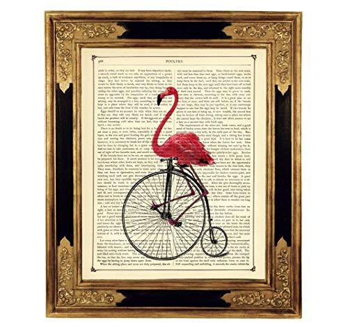 Pinker Flamingo Einrad Fahrrad Steampunk Kunstdruck auf viktorianischer Buchseite Geschenk Kinderzimmer Bild Poster ungerahmt