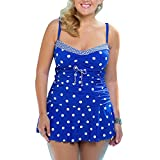 Mooyii Damen Elegant Push Up Bikini Set Polka Dots Badeanzug Bademode mit Röckchen GR.34-50 Große Größen Zweiteiliger