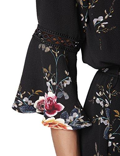 M-Queen Femme Bohème Robe de Plage Asymétrique Col Bateau Manches Longues Floral Imprimé Robe Sans Bretelles Multicolore