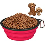 Himi 3000ML 100OZ Silicone Foldable Travel Dog Bowl - High Capacity Food Grade BPA Free Dog Bowls For Large Pet - Portable Pet Bowl For Food&Water Feeder (Pink)