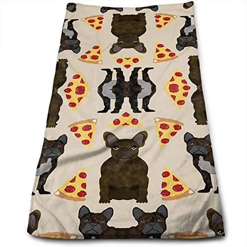 Sdltkhy Bulldog Pizza 100% Cotton, Fade Resistant, Highly Absorbent, Machine Washable, Hotel Quality, Soft Absorbent Towel (Polyester-servietten Bulk)