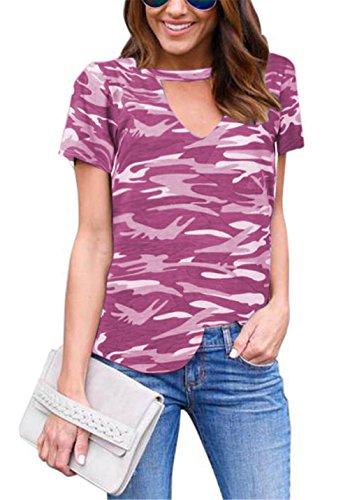 Frauen sexy V-Ausschnitt Kurzarm Camouflage Druck Slim Fit Shirt Top-T-Shirt Rot