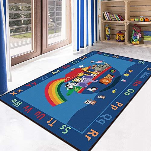 Baby-Krabbelteppiche ABC Alphabet Learning Soft Area Carpet Geeignet als Schlafzimmer Teppiche,Blue,120X160CM - Blue Area Teppich