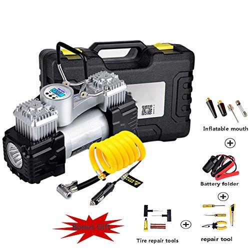 WCYTIRES Luftkompressor, Reifenfüller, Digital-luftkompressor mit LED-Licht, Tragbare Auto-Pumpe - 12V, 150 PSI, 3M Leitung