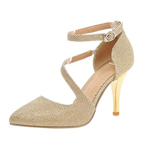 YE Damen Spitze Ankle Strap Pumps Stiletto Glitzer High Heels mit Riemchem Elegant Schuhe (Schuhe Stiletto Heel Ankle Strap)