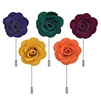 5pcs Men's Handmade Flower Lapel Pin Brooch Boutonniere Stick Wedding Tuxedo Corsage Suit Style 5 ciciTree