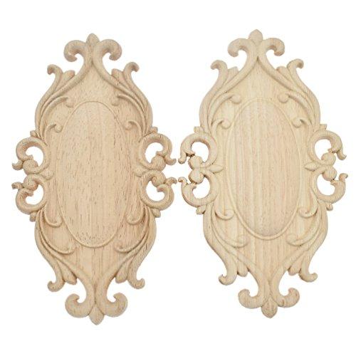 Geschnitzt 2-tür Schrank (YNuth 2X Oval Holzblumen Ornamente Schnitzerei Tür Schrank Wand Möbel Dekoration MEHRWEG)