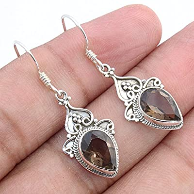 Kanika Jewelry Trove Smoky Quartz 925 Sterling Silver Vintage Earrings