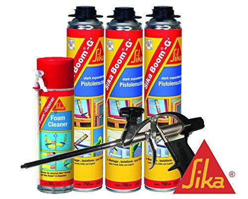 Sika Boom G+ Montageschaum Kombi-Set 3x Boom G+ inkl. Reiniger + Profi-Gun