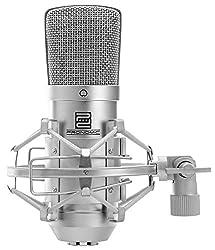 "Pronomic CM-10 Studio Großmembranmikrofon XLR-Kondensatormikrofon (1"" Kapsel, Nierencharakteristik, inkl. Mikrofonspinne, Tasche, Adapter zur Stativmontage) silber"