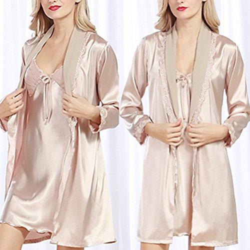 Zhhlaixing Women's Silk Stain Lace Trim Nightgown Sleepwear Nightdress Set Camel