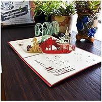 SUPRERHOUNG Tarjeta de felicitación 3D Pop-up Tarjeta de San Valentín Tarjeta Hecha a Mano Tarjeta de Regalo Bridge Card (Rojo)