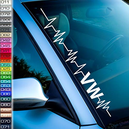 kompatibel mit Herzschlag VW Aufkleber Frontscheibenaufkleber 26 Farben Volkswagen Tuning Sticker i Love My VW