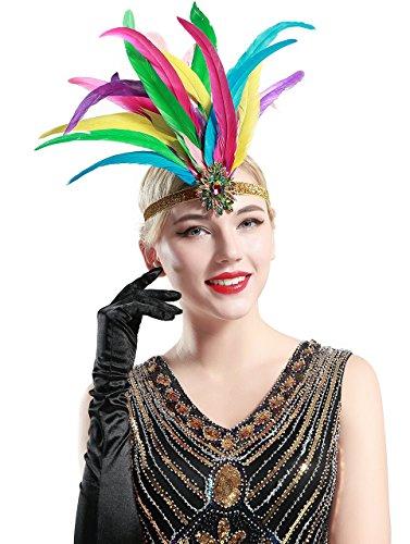 ArtiDeco 1920s Stirnband Damen Gatsby Kostüm Accessoires 20er Jahre Flapper Feder Haarband (Mehrfarbig)