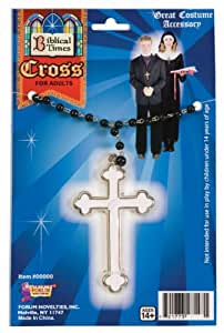 White Cross Nun Priest Monk Costume Necklace Accessory