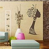 42X86 Cm Belle Femme Africaine Sticker Mural Tribal Fille Vinyle Autocollant Boutique De Mode Magasin Decal Noir Femmes Chambre Décoration Nouveau B