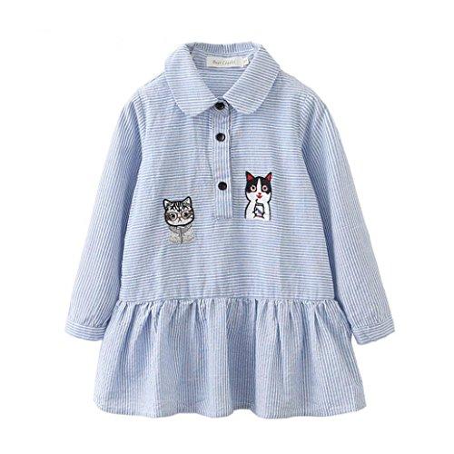 OverDose Kleinkind Kinder Baby Mädchen Kleidung Langarm Kleid Nette Katze Cartoon Streifen Party Prinzessin (Katze Für Hut Kleinkinder Im Kostüm)