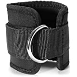 WINOMO 2pcs Sport Ankle weight Strap gym for Cable Machines Butt and Leg Weights Exercises-Black