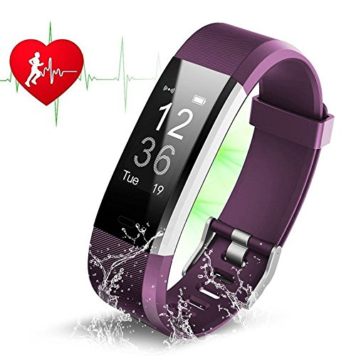Fitness Tracker HR, ZAOYI ID115 Plus Heart Rate Monitoring Activity Tracker Bluetooth Smart Bracelet Band Health Tracker Pedometer with Sleep Tracker Step counter Calorie Burned Sedentary Reminder IP67 Waterproof Smart Watch for iPhone Samsung & Other Android or iOS Smartphones device for Kids Women Men (ID115 Plus-Purple)
