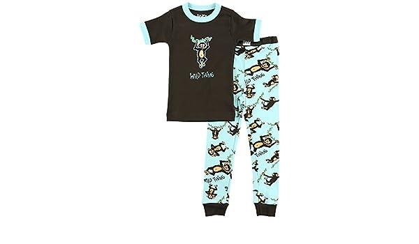 LazyOne Unisex Wild Thing Monkey Kids PJ Set Short Sleeve