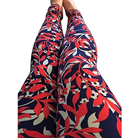 OverDose Women Casual Floral Print Stretchy Pants