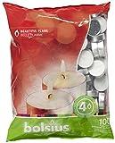 Bolsius Teelichter, für Innen- und Außenbereich, 4 Stunden Brenndauer, 16 x 38 mm, 100 Stück, weiß