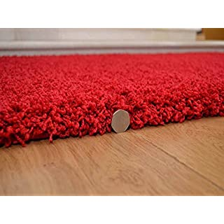 AHOC Soft Touch Shaggy Red Thick Luxurious Soft 5cm Dense Pile Rug. Available in 7 Sizes (120cm x 170cm)
