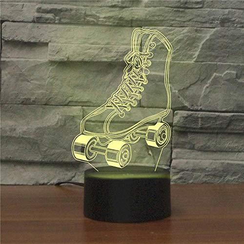 3D Illusion Lampe 7 Farbwechsel Dekor Lampe mit Fernbedienung Skaten, Inlineskaten, Freizeit 7 Farbwechsel Touch Nachtlicht