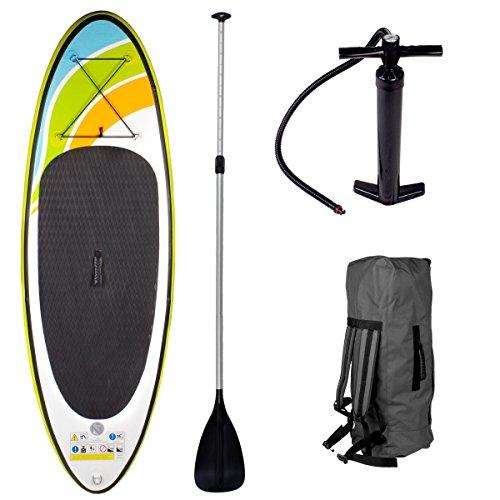 Sup Board Stand up Paddling Surfboard Striker 213x71x10cm aufblasbar Alu-Paddel Hochdruck-Pumpe Transportrucksack Paddle