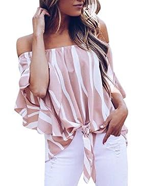 Longra T-Shirt a Righe Donna Maglia Manica Lunga Donna Sleeveless Top Donna Estate Taglie Forti Camicie Lunghe...