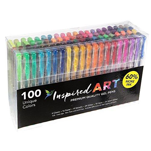 Gel Pen Set para colorear Art–100colores (no duplicados), calidad superior, de flujo...