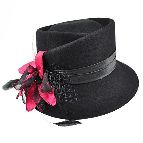Handmade Wool Elegant Satin Band Finished Flower & Feather Classic Cloche Hat Bridal Wedding Accessory
